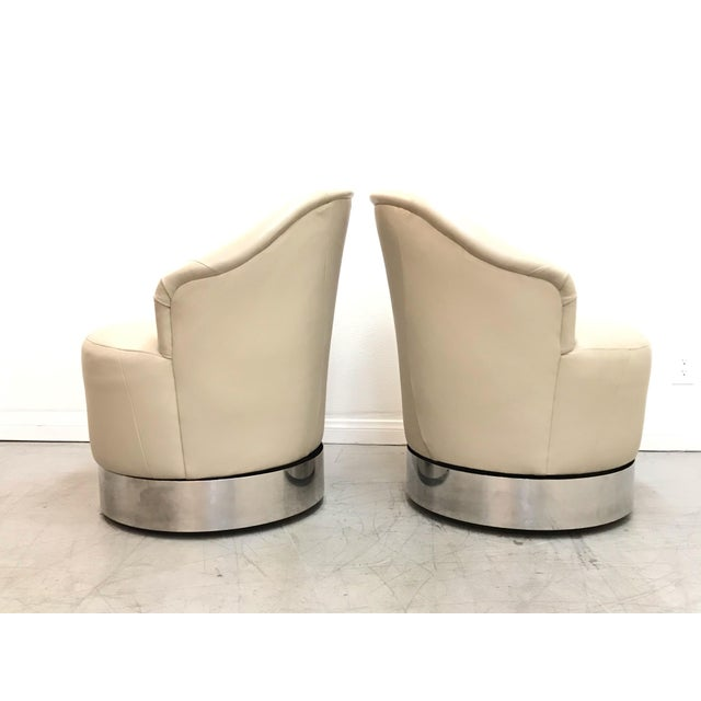 1980s Vintage J. Robert Scott Leather and Chrome Barrel Chairs- A Pair For Sale In Los Angeles - Image 6 of 12