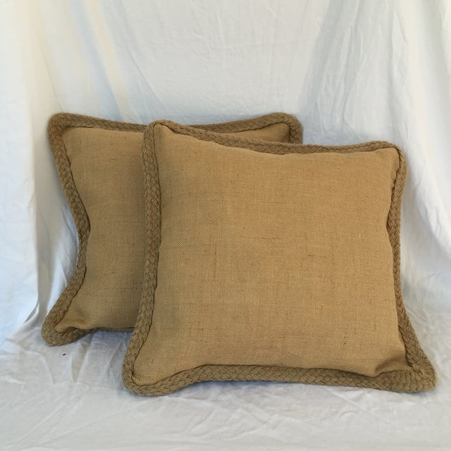 Braided Burlap Pillows - A Pair - Image 2 of 4