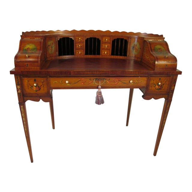 French Antique Satinwood Painted Carlton Desk - Image 1 of 10