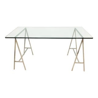 Glass Top Desk With Chrome Sawhorse Legs For Sale