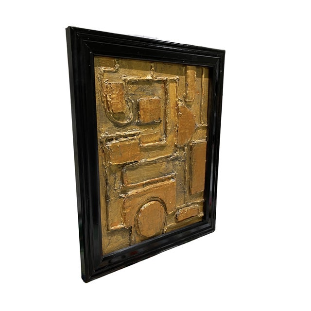 Mid-Century Modern Contemporary Abstract Mixed-Media Painting by Tony Marine, Framed For Sale - Image 3 of 4
