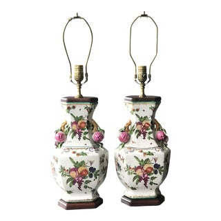 Vintage Hand-Painted Ceramic With Figural Pomegranates Urn Lamps- a Pair For Sale