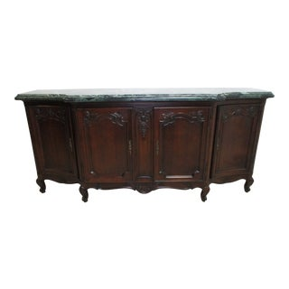 1920s Antique French Country Marble Top Server Sideboard For Sale