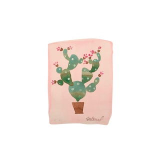 "Contemporary ""Pink Cactus"" Original Watercolor Painting For Sale"