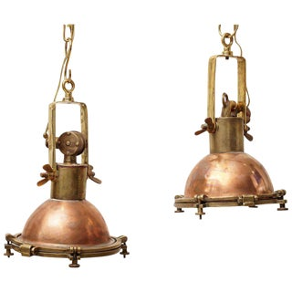 Pair of Copper and Brass Pendant Nautical Lights, Originally Ship's Deck Lights, 1970s For Sale