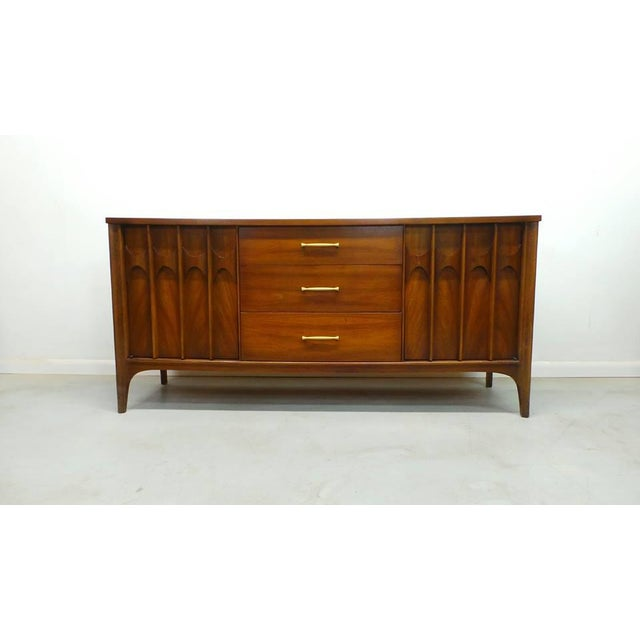Gold 1960's Mid Century Modern Kent Coffey Perspecta Walnut Credenza For Sale - Image 8 of 9