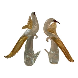 Murano Glass Golden Pheasants - A Pair