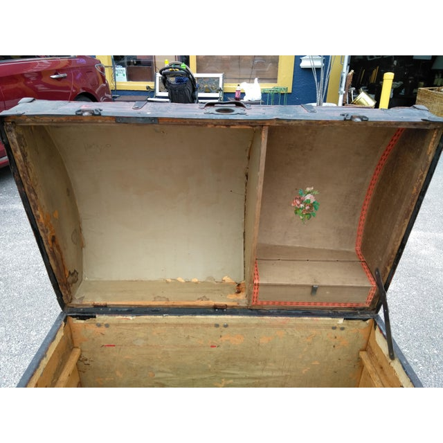 We are offering this period Late 19th century travel trunk fro sale. It is All original hardware strapping and interior....