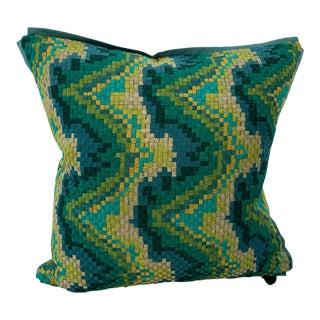 Waveblock Green Pillow Cover For Sale