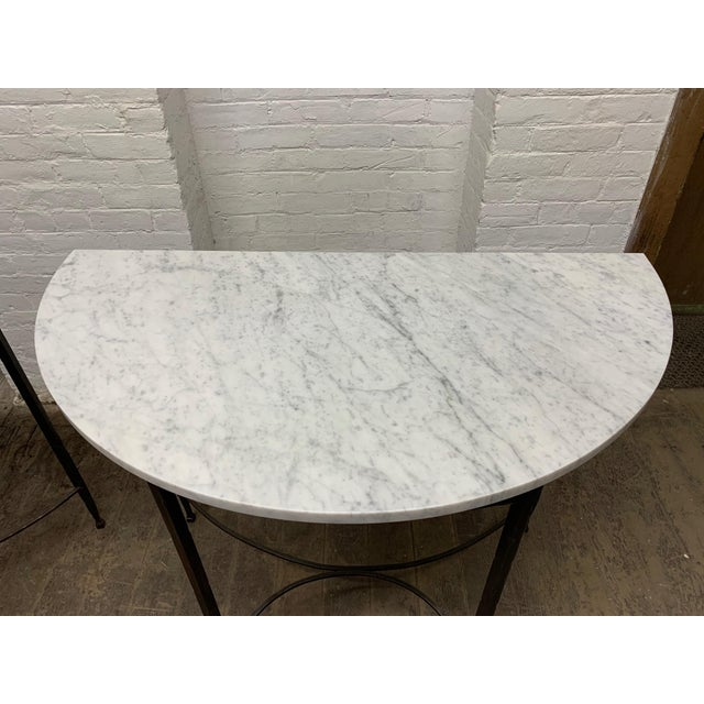 Pair French Wrought Iron and Carrara Marble-Top Demilune Tables For Sale In New York - Image 6 of 8