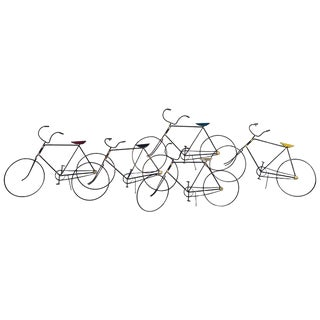 Signed Curtis Jere Wall Sculpture of a Group of Bicycles For Sale