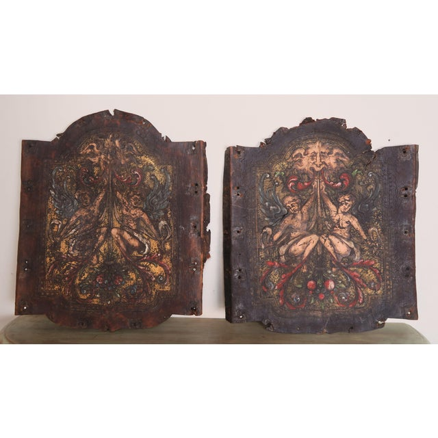 Mediterranean Pair of 19th C. Spanish Leather Panels For Sale - Image 3 of 10