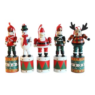 1990s Americana Wooden Toy Ornaments - Set of 6 For Sale