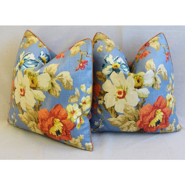 "Lee Jofa Jardin Floral Linen Feather/Down Pillows 21"" Square - Pair For Sale - Image 9 of 13"