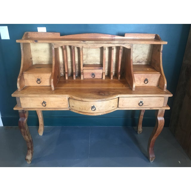 1970s French Country Louie XV Provincial Writing Desk With Hutch For Sale - Image 13 of 13