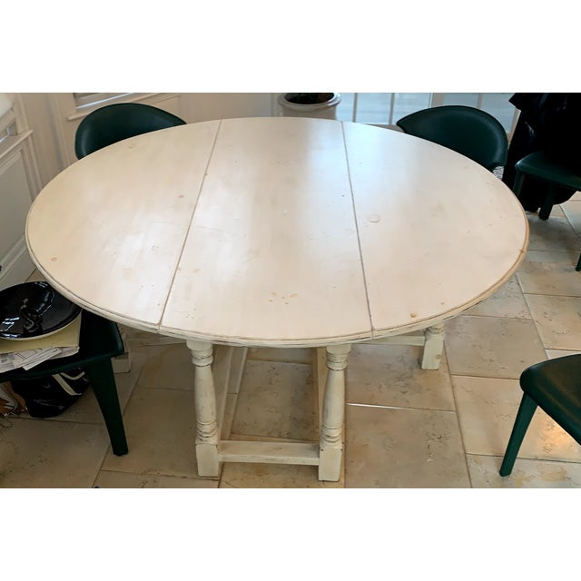 1990s Shabby Chic Natural Wood Round Dinning Table For Sale - Image 9 of 9
