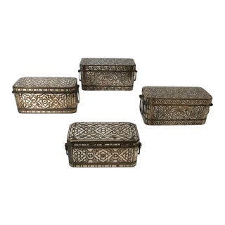 Silver and Bronze Inlaid Betel Nut Boxes - Set of 4 For Sale
