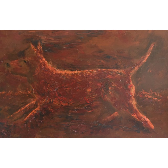 Midcentury fun folk art abstract of a dog in action running/jumping oil painting on Masonite artist board. Signed by the...