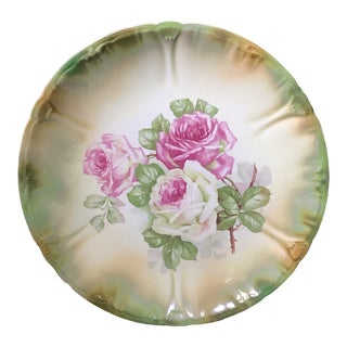Antique Anton Mehlem Bavarian German Luster Wall Art Cake Plate Featuring Cabbage Roses For Sale