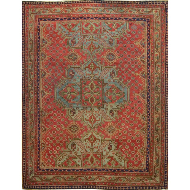Antique Turkish Red Oushak Rug, 8'4 X 11' For Sale In New York - Image 6 of 6