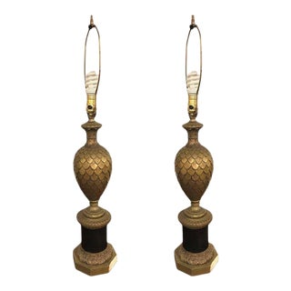 Pair of Bronze Pineapple Urn Form Table Lamps on Black Fluted Pedestal Base For Sale