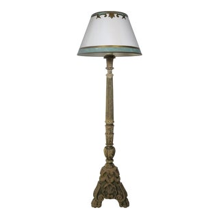 19th C. Italian Standing Lamp W/ Parchment Shade For Sale