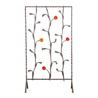 Decorative Mid-Century Modern Artisan Iron Screen For Sale