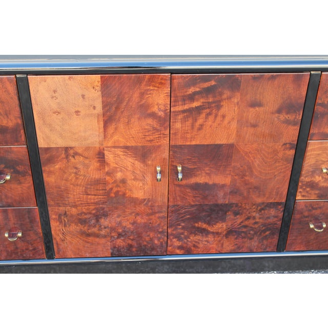 Art Deco Black Lacquer & Burlwood Buffet by Henredon For Sale In Miami - Image 6 of 11