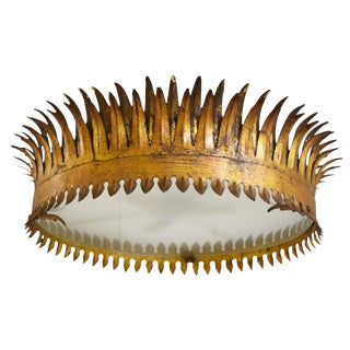 Crown Shaped Gold Metal Semi, Flush Mount Light Fixture From Barcelona For Sale