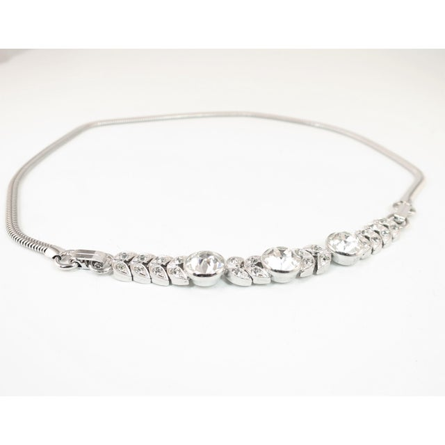 Art Deco Engel Brothers Rhodium Sterling & Crystal Necklace 1930s For Sale In Los Angeles - Image 6 of 13