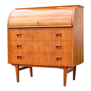 Vintage Mid Century Egon Ostergaard Cylinder Top Secretary Desk For Sale