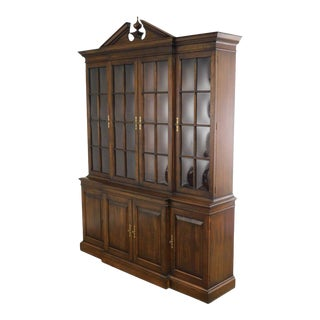 Pennsylvania House Quality Solid Cherry Chippendale Style Breakfront China Cabinet For Sale