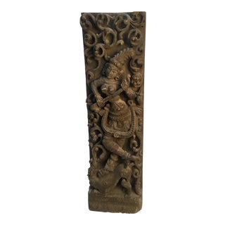 19th Century Antique Indian Hindu Deity Wood Carving For Sale