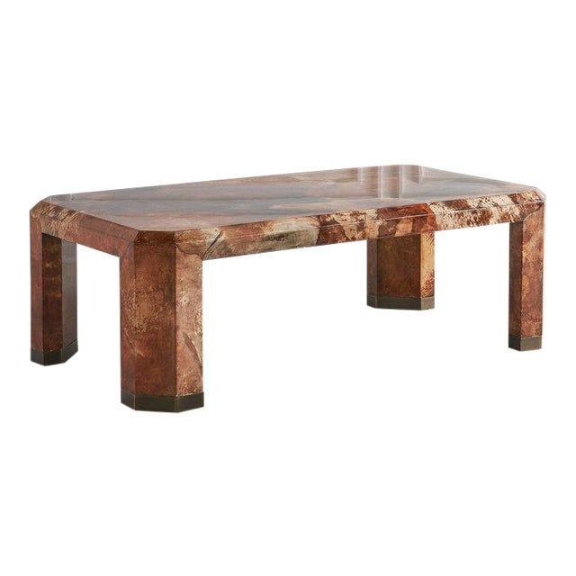 Lacquered Goat Skin Coffee Table For Sale