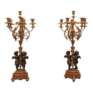 19th Century French Sculptural Bronze Candelabra Garniture - a Pair For Sale