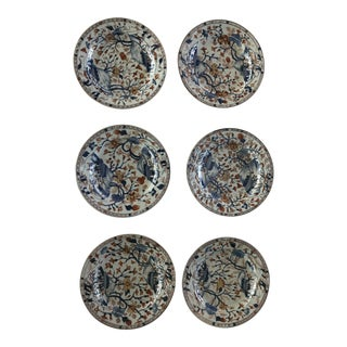 1740s Antique 18th Century Imari Japanese Porcelain Plates - Set of 6 For Sale
