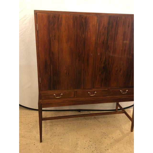 Mid-Century Modern Two-Door Over Three-Drawer Mid-Century Modern Brazilian Rosewood Cabinet Chest For Sale - Image 3 of 13