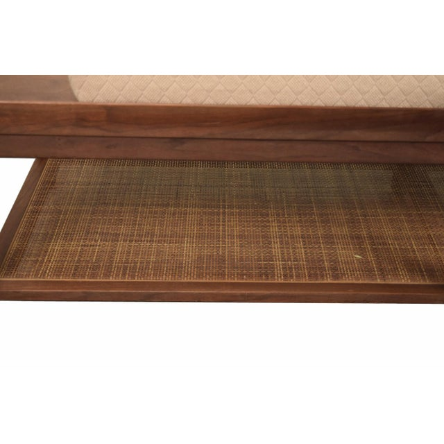 1960s 1960s Mid-Century Modern Coffee Table Bench Caned Shelf For Sale - Image 5 of 6