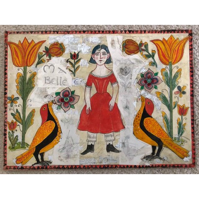 Vintage Folk Art Drawing Collage. For Sale - Image 4 of 4