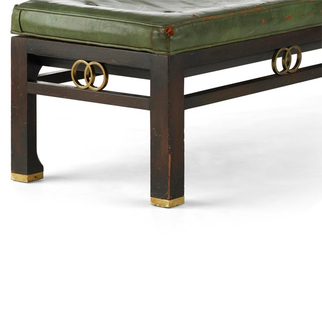 1960s Vintage Michael Taylor for Baker Furniture Green Leather Bench For Sale - Image 5 of 7