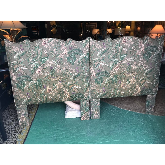 Adorable set of Palm Beach Regency Monkey and Palm leaf with small lavender flowers upholstered Twin headboards. Fabric is...