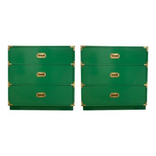 Vintage Campaign Chests in Emerald — a Pair For Sale