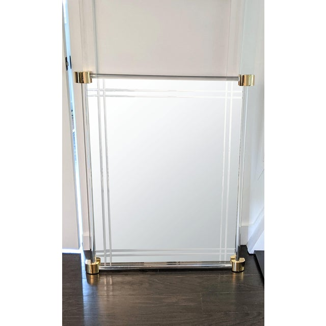 Brass Vintage 1970s Lucite Framed Wall Mirror With Brass Corner Details For Sale - Image 8 of 8