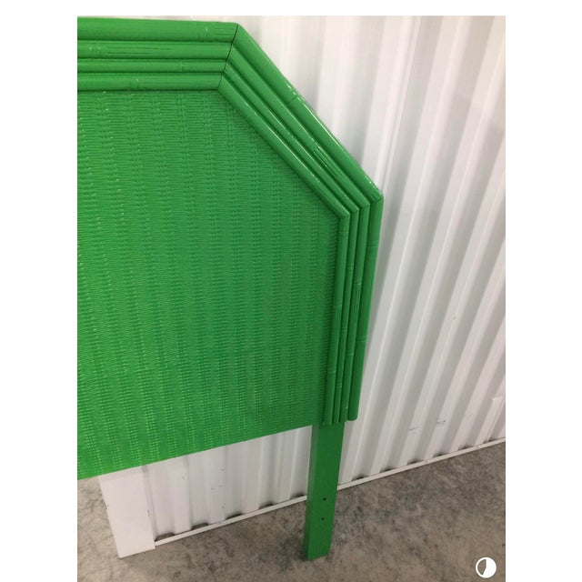Lacquered Kelly Green Faux Bamboo Twin Headboards - a Pair For Sale - Image 4 of 5