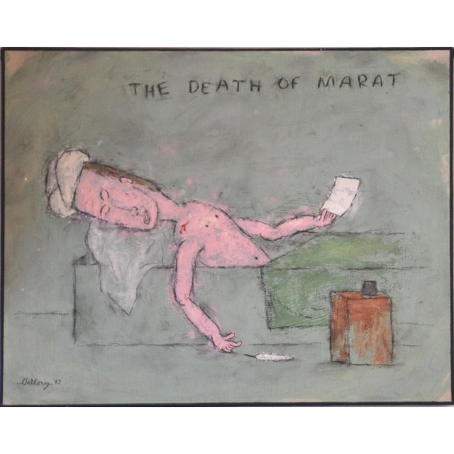 1990s William Anthony Oil and Pencil on Canvas 'The Death of Marat' 1993 For Sale - Image 5 of 5