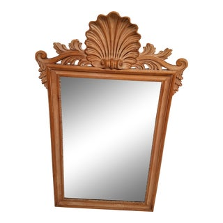 La Barge Bleached Fruitwood Shell Carved Beveled Mirror For Sale