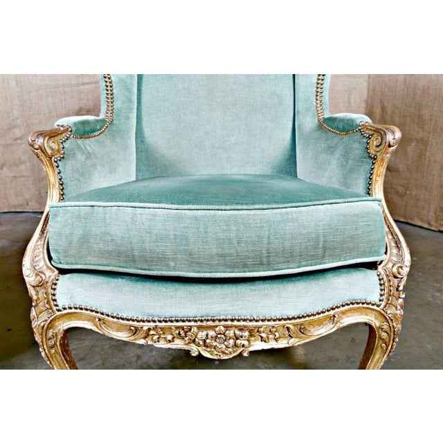 Turquoise 19th Century French Louis XV Style Carved Giltwood Bergeres - A Pair For Sale - Image 8 of 12
