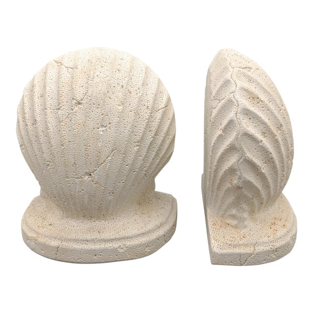 Late 20th Century Off-White Scallop/ Clam Shell Bookends - a Pair For Sale