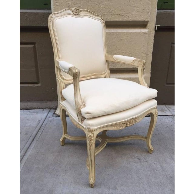 French Louis XIV Style Armchairs - A Pair For Sale - Image 3 of 7