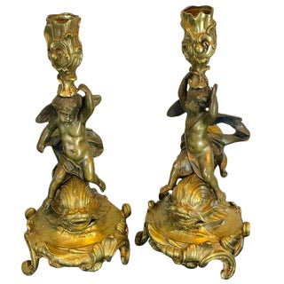 19th Century French Bronze Putto and Dolphin Motif Candlesticks For Sale